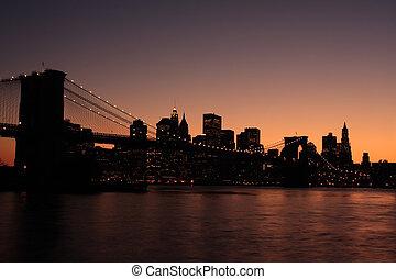 Silueta del puente de Brooklyn