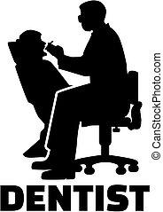 Silueta dentista con título de trabajo