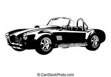 Silueta deportivo clásico ac shelby cobra roadster