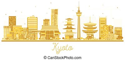 Silueta dorada de la ciudad de Kyoto Japón.