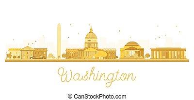 Silueta dorada de Washington DC.