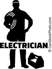 Silueta eléctrica con título de trabajo