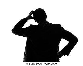 silueta, empresa / negocio, pensamiento, espalda, hombre, vista trasera
