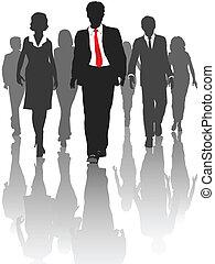 silueta, empresarios, caminata, recursos humanos