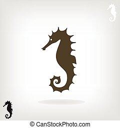 Silueta estilizada de un caballo marino.