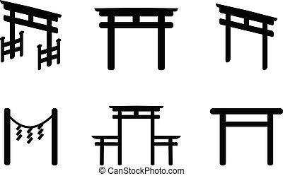 silueta, estilo, conjunto, torii, icono