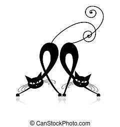 silueta, gatos, dos, diseño, elegante, su, negro