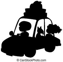 silueta, gente, coche, fondo blanco, conducción