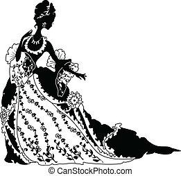 Silueta gráfica de una mujer de color rococo