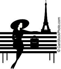 Silueta gráfica elegante de una mujer en un banco en París.