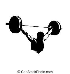 silueta, halterófilo, tinta, aislado, vector, dibujo, levantamientos, barra con pesas, grande