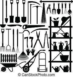 silueta, herramientas de jardinería