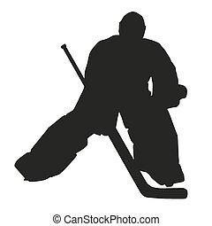 silueta, hockey, portero