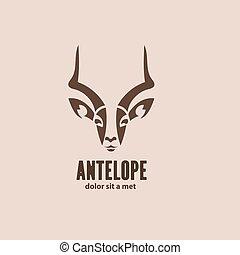 silueta, idea, estilizado, vector, diseño, artístico, animal, antelope., salvaje, logotipo, template.