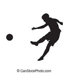 silueta, jugador, patear, vector, pelota del fútbol