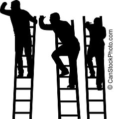 silueta, ladder., hombre