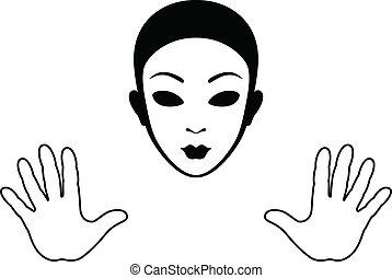 silueta, máscara, aislado, mimo, manos, blanco