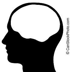Silueta masculina con cerebro