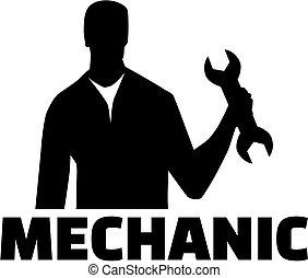 Silueta mecánica con título de trabajo