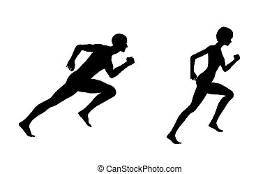 Silueta, mujer de hombre corre