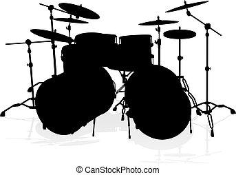 silueta, musical, tambor, instrumento, kit
