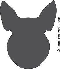 Silueta negra de cabeza de cerdo en un fondo blanco. Ilustración de vectores