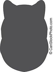 Silueta negra de cabeza de perro en un fondo blanco. Ilustración de vectores