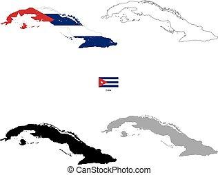 Silueta negra de Cuba y con bandera en el fondo