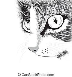 Silueta negra de gato. Ilustración de vectores.