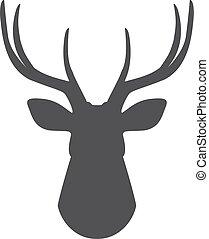 Silueta negra de la cabeza de ciervo en un fondo blanco. Ilustración de vectores