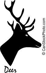 Silueta negra de un ciervo. Ilustración de vectores en el fondo aislado