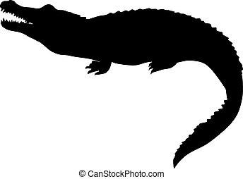 Silueta negra de un cocodrilo. Ilustración vectorial aislada