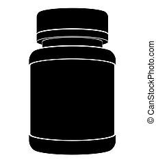 Silueta negra de un frasco de plástico para medicinas con tapa cerrada. Vista lateral plana.