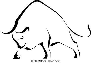 Silueta negra de un toro salvaje