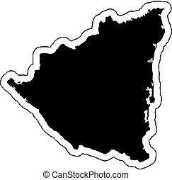 Silueta negra del país Nicaragua con la línea de contorno o marco. Efecto de pegatinas, etiqueta y etiqueta. Ilustración de vectores.