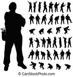 Silueta negra en varias poses
