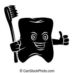 Silueta negra: mascota de los dientes