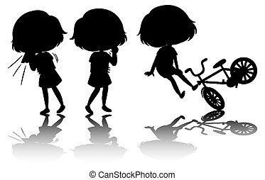 silueta, niños, conjunto, reflejo