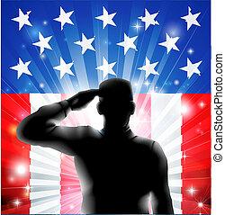 silueta, nosotros, soldado, bandera, militar, saludar