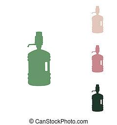 silueta, pequeño, arena, botella, icono, plástico, selva, blanco, agua verde, verde, ruso, puce, illustration., fondo., unos, desierto, siphon.