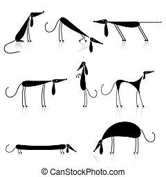 silueta, perros, negro, su, colección, diseño, divertido