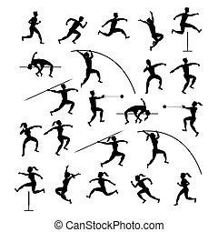 silueta, pista, deportes, atletas, campo, conjunto