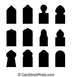 silueta, puerta, ventana, forma, puerta, arco, vector, árabe, set., icono, árabe, arabesco, islam