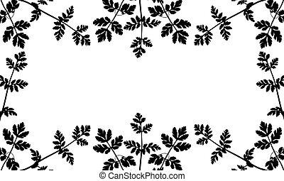 silueta, salvaje, (weeds), vector, illustration., recorte, utilizado, frame., plantas, mask.