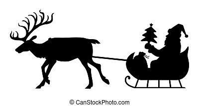 silueta, santa, equitación, reno, sleigh