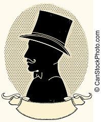 silueta, sombrero, cara, vector, caballero, mustache.