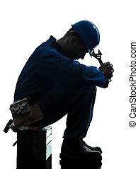 silueta, triste, fracaso, reparación, trabajador, hombre, fatiga