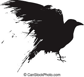 Silueta vector del cuervo grunge