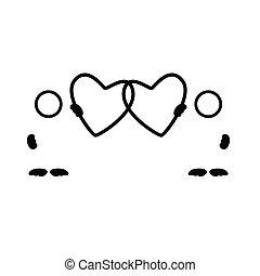 Silueta vector negro del corazón