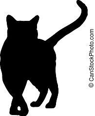 silueta, vector, negro, ilustración, cat.